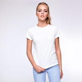 Camiseta mujer entallada blanca, impresa a todo color